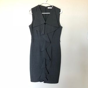 Dark Grey Calvin Klein Dress with Ruffle Detail